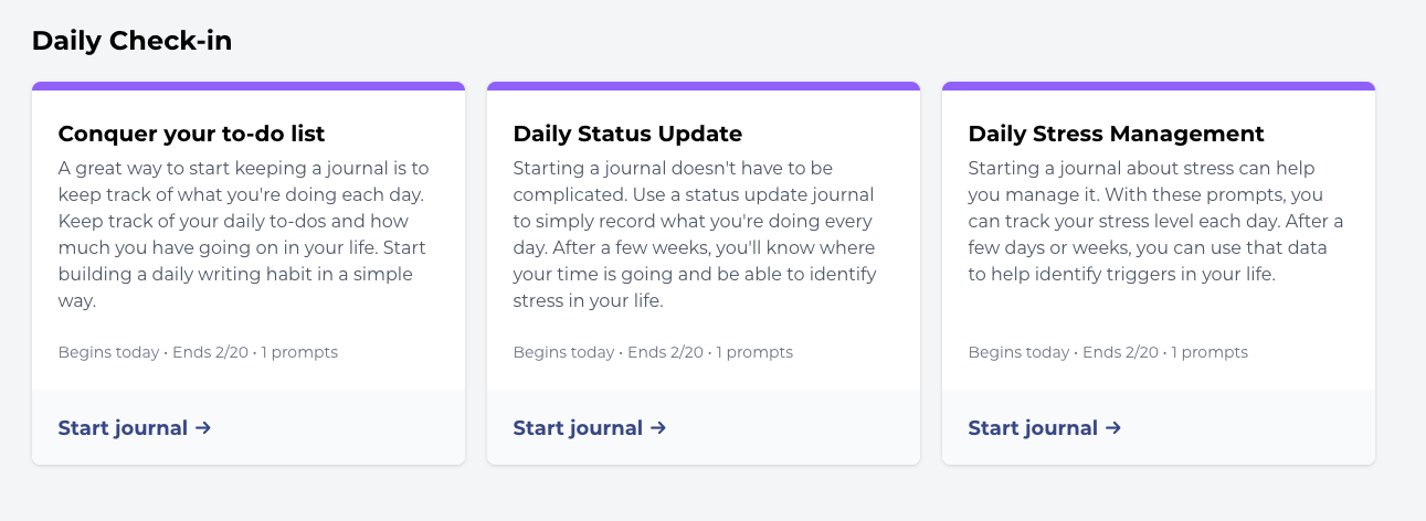 A sample of three simple journal prompts that remind you to write everyday.