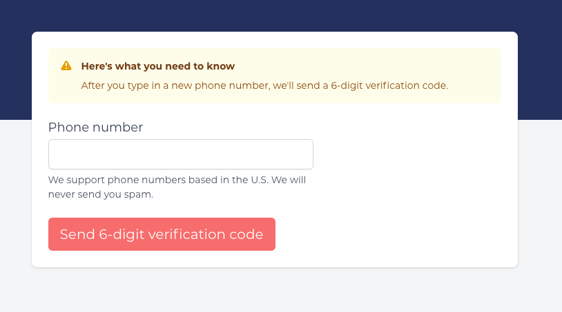 A picture showing the phone number verification page.
