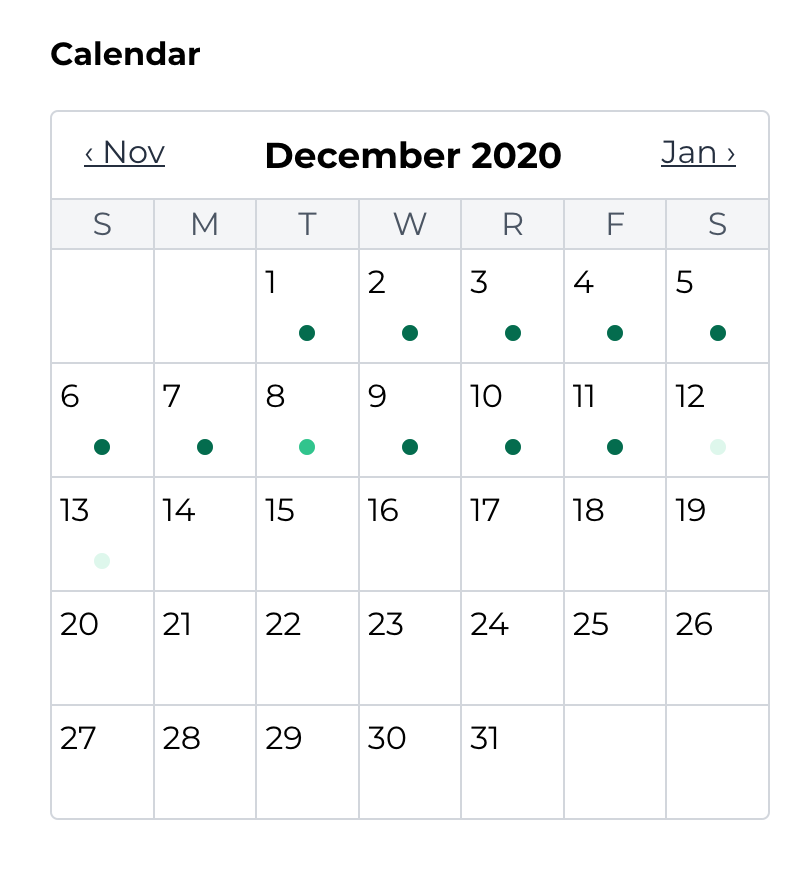 A picture of a calendar with writing activity displayed to track progress.